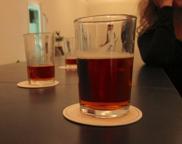 Smaller glasses of onsite-produced beer at 33 Acres' tasting room