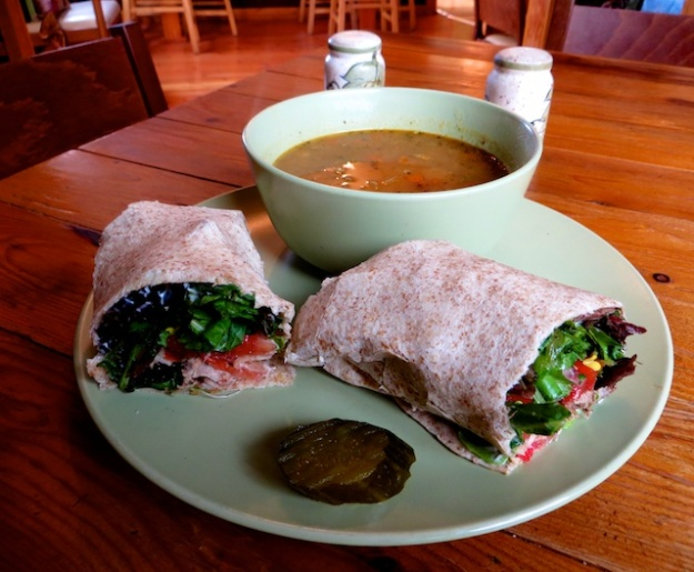 Excellent roasted root soup and pork tenderloin wrap at Crowsnest Cafe