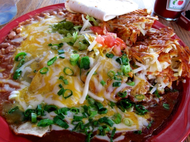 The ultimate chilaquiles breakfast at MartAnne's Cafe in Flagstaff, Arizona