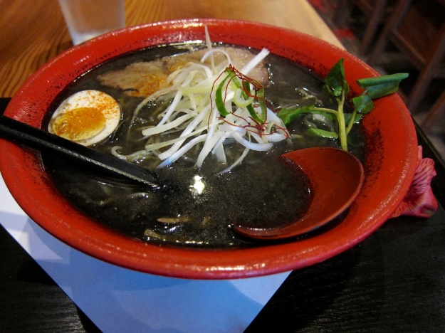 Charcoal soup at Vancouver's Motomachi Shokudo. Much healthier and better tasting than it sounds