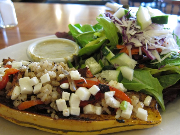 This baked squash mounded with goodies made for a healthy lunch at Morning Glory Cafe in Eugene, Oregon