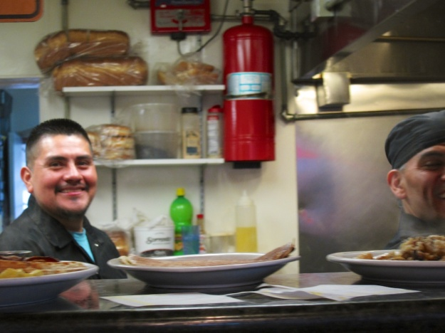 Even the hard-working cooks have fun at Pete's Breakfast House in Ventura, California