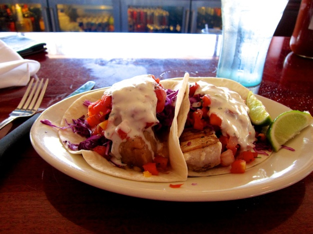 The fish tacos at South Beach Bar & Grille, in San Diego, are nearly the size of filets