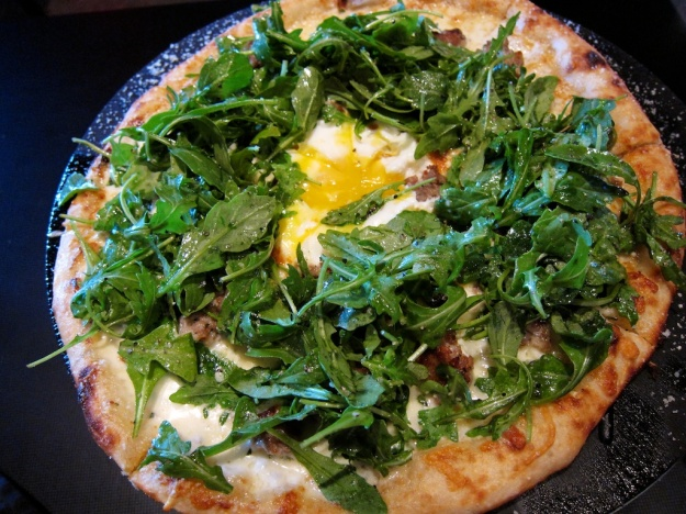 Italian sausage, heavy cream and truffle-oil tossed arugula add up to a winner at The Flying Goat in Spokane, Washington