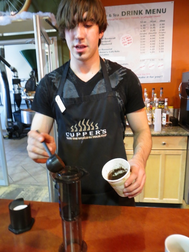 David preparing an inverted-style Aeropress drink at Cupper's Coffee & Tea in Lethbridge, Alberta