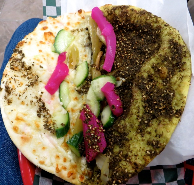 Half zatar, half cheese pita pie for only $4 at Pita Hut Bakery