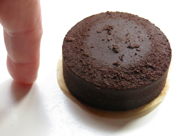 A little chocolate cake? No, it's the thick puck I produce from the Aeropress grounds when making my potent Americano