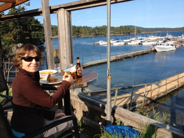 Hard to beat this harbour view at Smokin Tuna Cafe in Sooke, B.C.