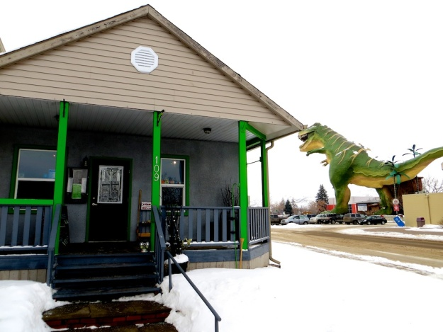 Sublime Food and Wine is in the shadow of this enormous T-rex in downtown Drumheller, Alberta