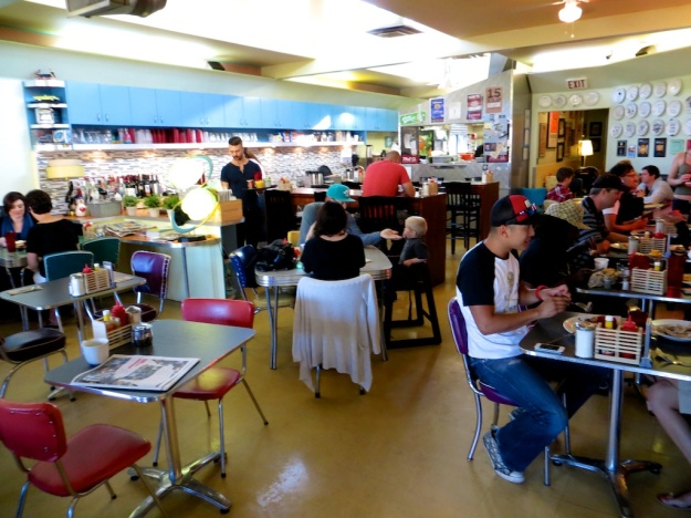 Diner Deluxe is a funky Calgary breakfast spot in a converted automotive garage