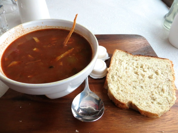 Hearty chicken and black bean soup with sourdough bread
