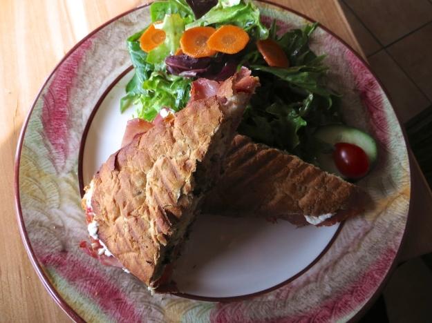 A lovely prosciutto and pesto panini at Bistro Provence