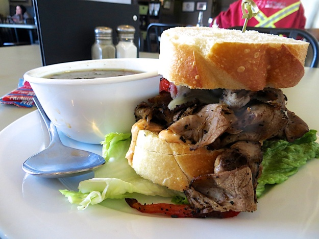 A mountain of thinly-sliced bison in this Philly sandwich at Ponoka's Cilantro + Chive