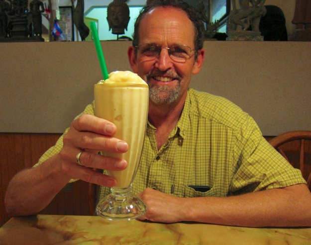 "Bottoms up! Charlie about to embrace a ""stinky"" Durian shake at Phnom Penh in Seattle"