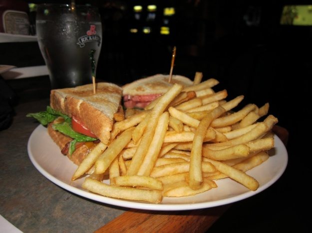 Excellent clubhouse and fries at The Garage Pub & Grill in tiny Tofield, Alberta