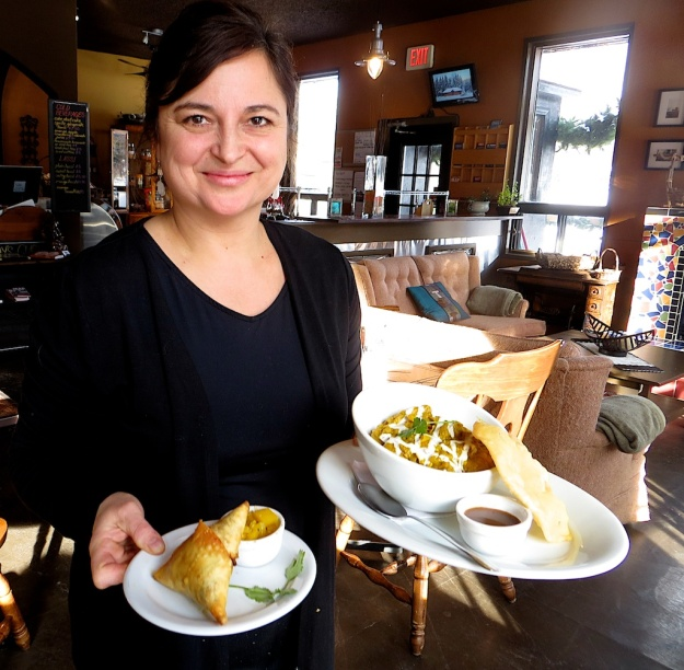 Co-owner Dawn Donald delivers an excellent Burmese chicken curry and samosa at Junction House Cafe