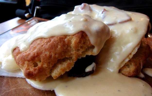 Think there's a few calories in this delectable chicken and biscuit and gravy.... and bacon and egg at Seattle's Serious Biscuit?