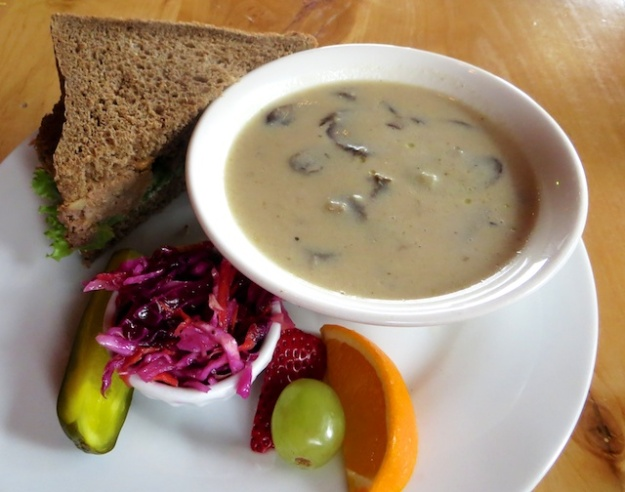 Fabulous home-cooked meatloaf sandwich and cream of mushroom soup
