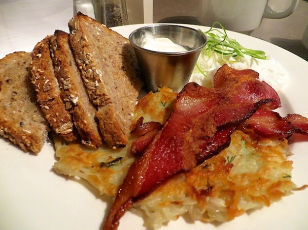 Grumans Delicatessen offers maybe the best early-bird breakfast in Calgary: $7, including excellent coffee and tax