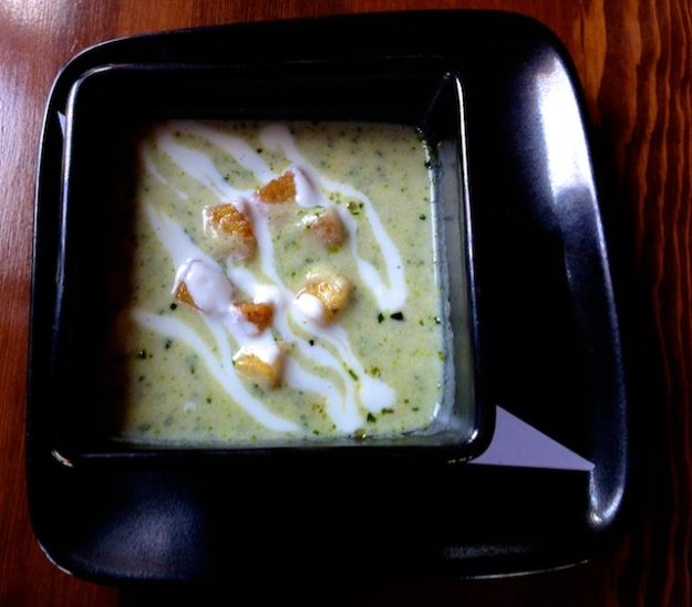 The polenta croutons knock this celeriac and kale soup out of the park