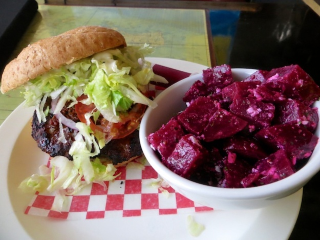 Who's ever heard of a beet-feta salad as a side with a burger? Great stuff