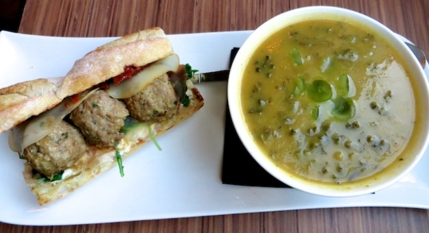 Fabulous meatball sandwich and golden beet soup at Cibo Bistro