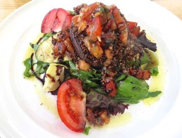A fine roasted veggie and quinoa salad at the Glasshouse Bistro & Cafe in The Enjoy Centre
