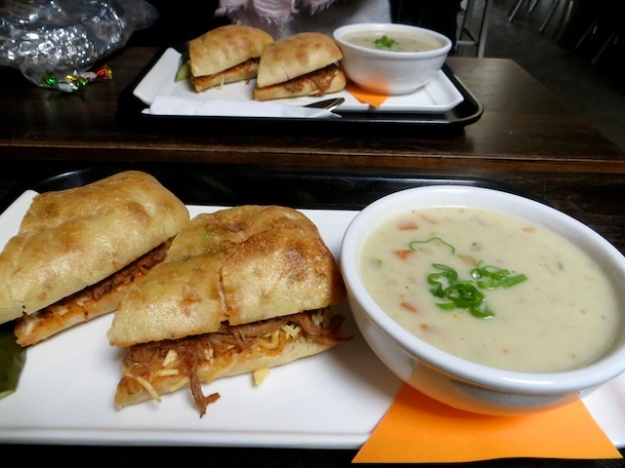 Braised beef sandwich and fish soup at MRKT