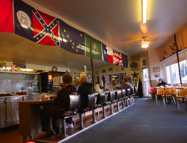 The character-filled Palm Cafe is where the regulars hang out in Orick, California