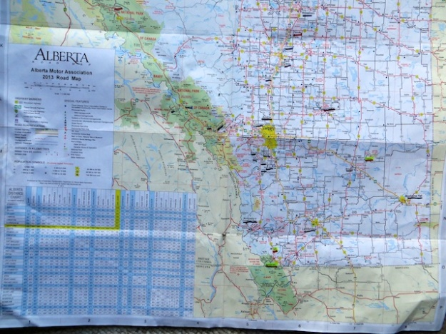My heavily used and marked Alberta road map is easy to read