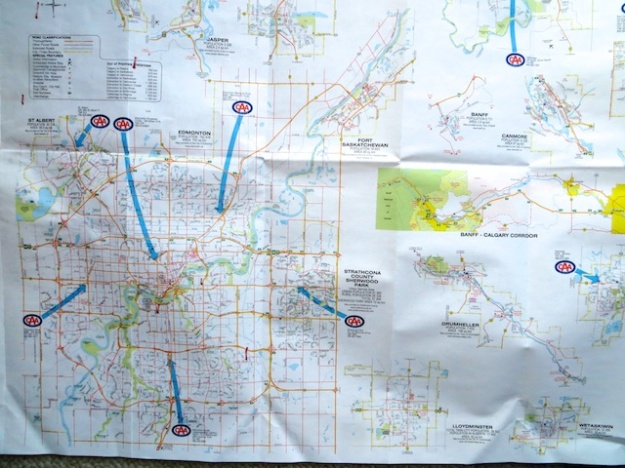 The back of Alberta's road map shows detailed maps of every city and major resort community