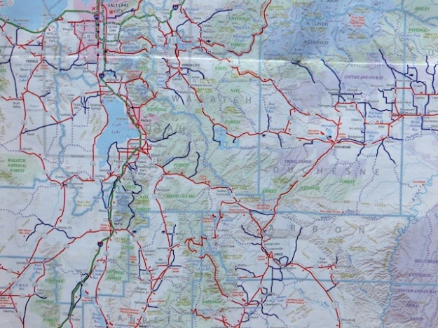 This enlargement makes it more legible, but Utah's road map is hard to decipher