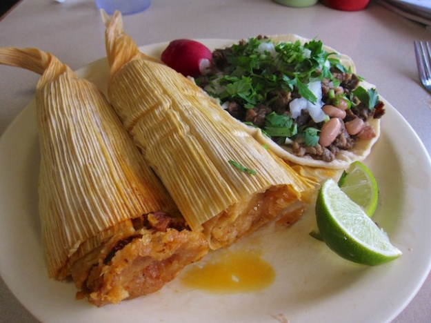Fabulous red-chile pork tamales at Vuelva a la Vida in Tacoma, Washington