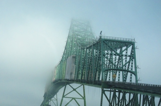 Spectacular, foggy bridge spanning the Columbia River outside Astoria, Oregon