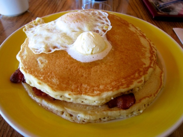 Carbo loading at Running Bear Pancake House in West Yellowstone