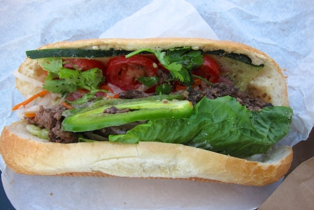 Delicious, innovative ribeye steak banh mi at Oh Mai. Oh my, indeed