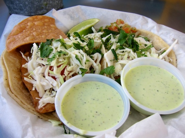 First-rate fish tacos with jalapeño mayo and crispy, house-made tortilla chips