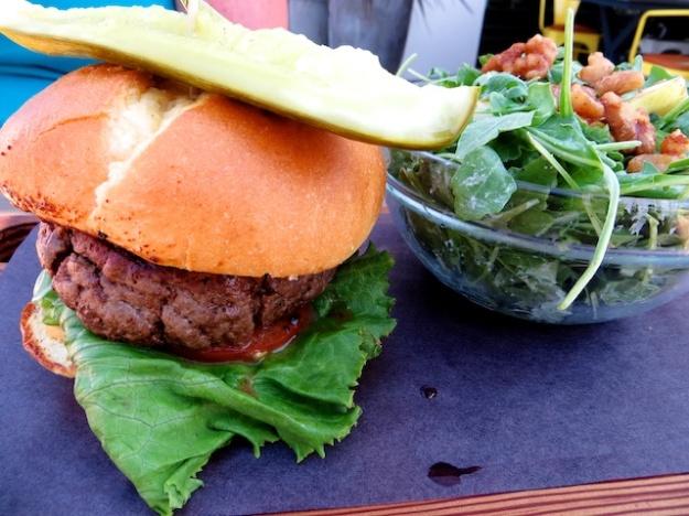 Juicy, medium-rare burger at National in Calgary