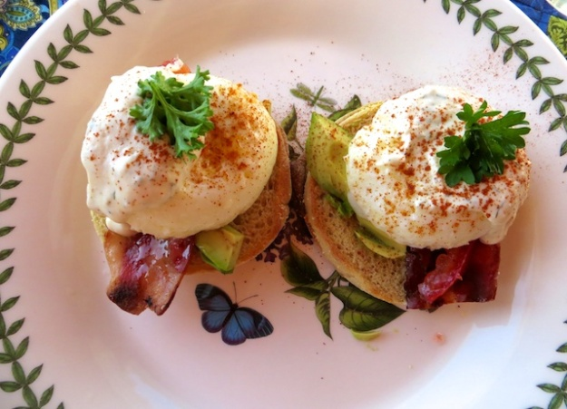 Eggs Benedict with turkey bacon for breakfast