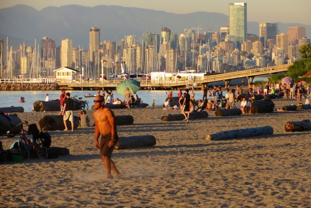 At Vancouver's Jericho Beach, the sand is just across the water from the downtown skyline