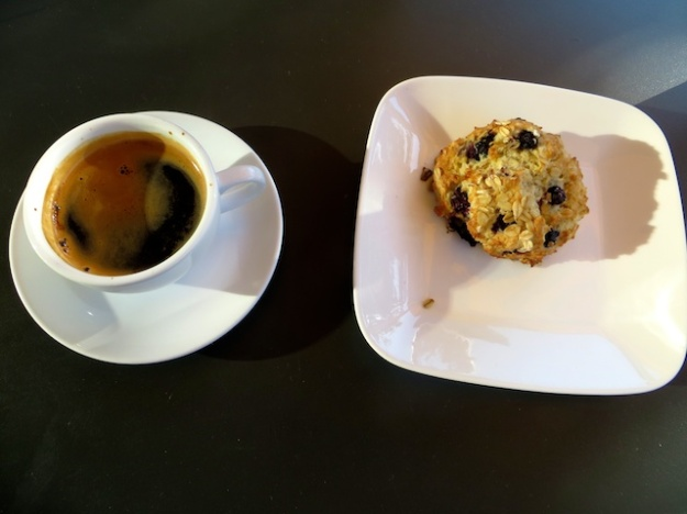 Coffee and a muffin at Terra Breads in Vancouver's Olympic Village