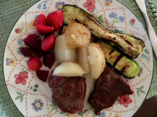 Steak and garden vegetables