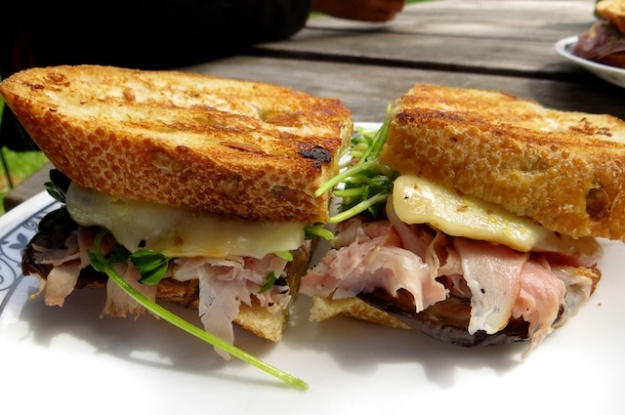 The caramelized onion sauce brings this fantastic ham-eggplant sandwich together