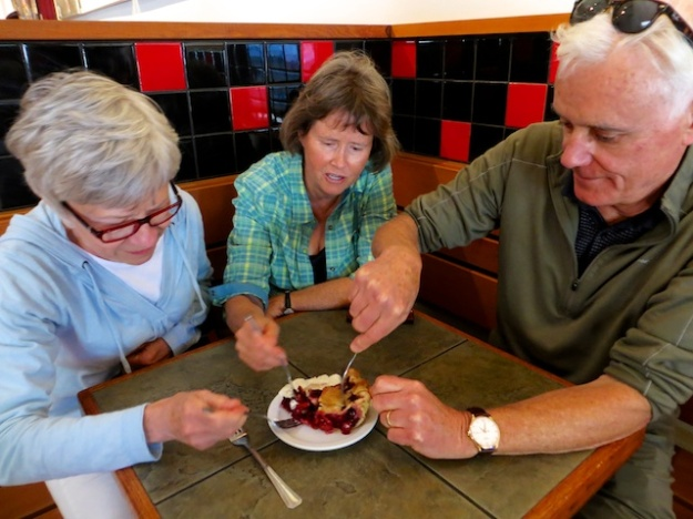 All hands on deck for this luscious blackberry pie at Salt Spring Coffee