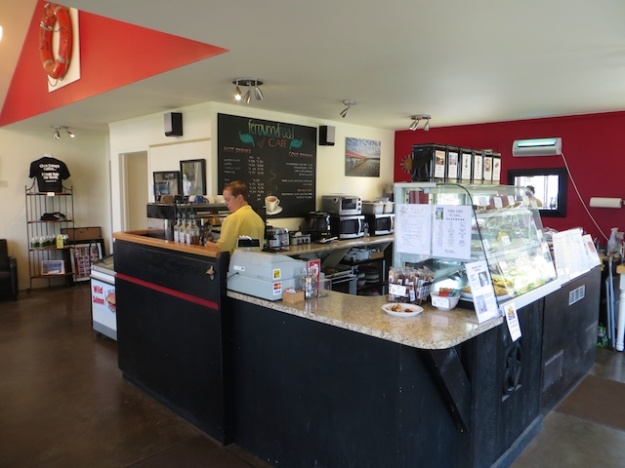 Co-owner Jennifer Shaw is running the espresso machine and tiny kitchen at Fernwood Road Cafe