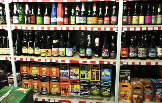 Just a small sampling of the 700 types of beer available at Jasper Liquor Store and Wine Cellar