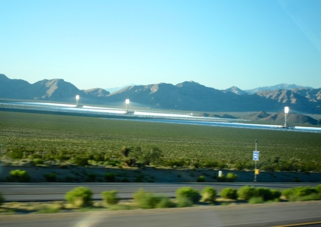 The world's largest solar thermal power plant in the Mojave Desert, near the California-Nevada border