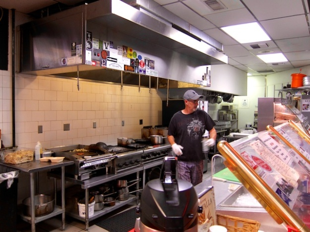 Kevin tends the grill at fabulous Andrae's Kitchen in Walla Walla, Washington