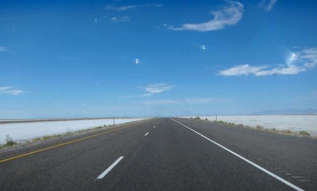 The salt-stained landscape provides some visual relief on the I-80 west of Salt Lake City