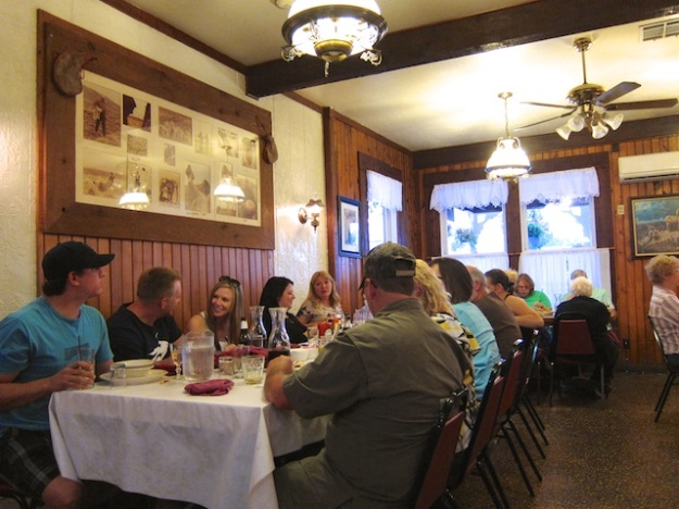 Customers sit at communal tables for the Basque-style meal at The Martin Hotel in Winnemucca, Nevada